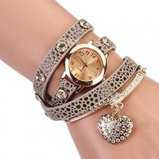 ساعة يد نسائية جلد كاجوال مزينة بالكريستال